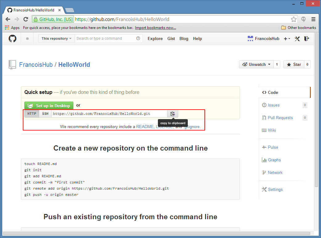 GitHub New Empty Repository