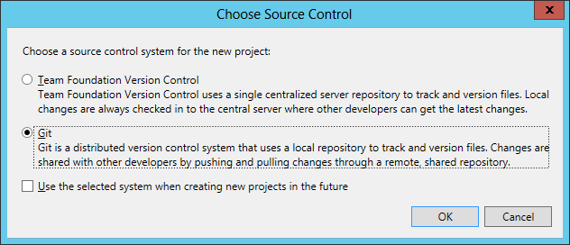 Visual Studio Choose Source Control Type