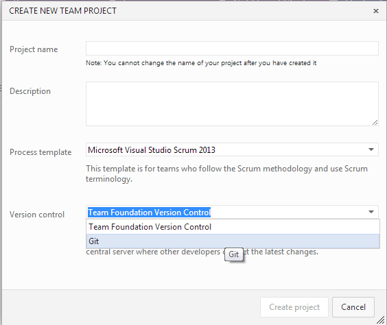 Visual Studio Online New Team Project