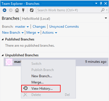 Visual Studio Team Explorer Branches View History