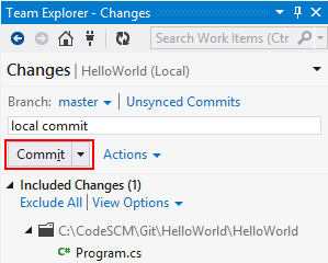 Visual Studio Team Explorer Changes Commit