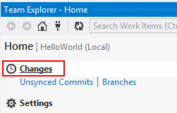Visual Studio Team Explorer Changes Link