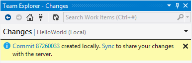 Visual Studio Team Explorer Changes Local Commit Success