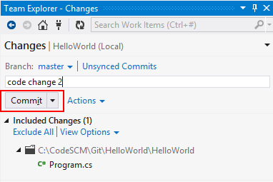 Visual Studio Team Explorer Commit