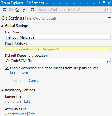 Visual Studio Team Explorer Git Settings