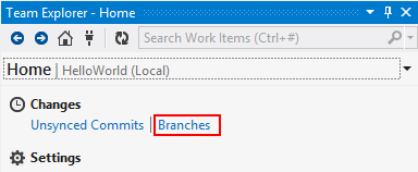 Visual Studio Team Explorer Home Click Branch