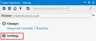 Visual Studio Team Explorer Home Git Settings