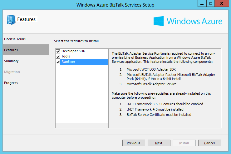 Azure BizTalk Services Setup Features