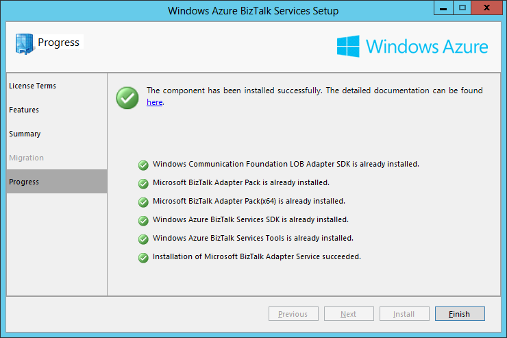 Azure BizTalk Services Setup Finish