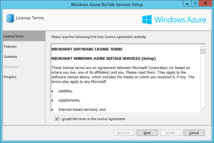 Azure BizTalk Services Setup License Term