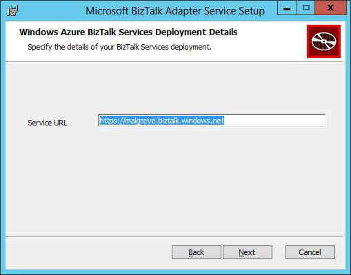 BizTalk Adapter Service Setup BizTalk Services Deployment URL
