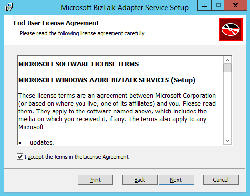 BizTalk Adapter Service Setup License Agreement