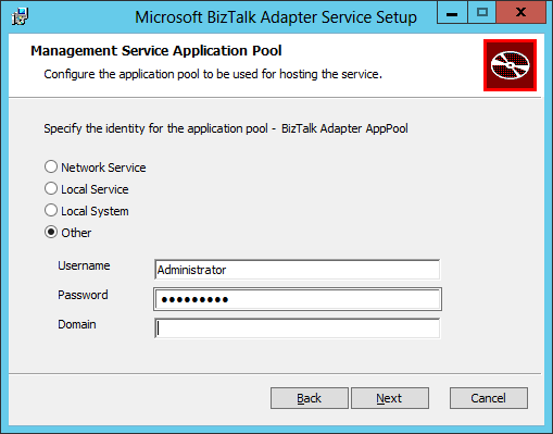 BizTalk Adapter Service Setup Management Service Application Pool