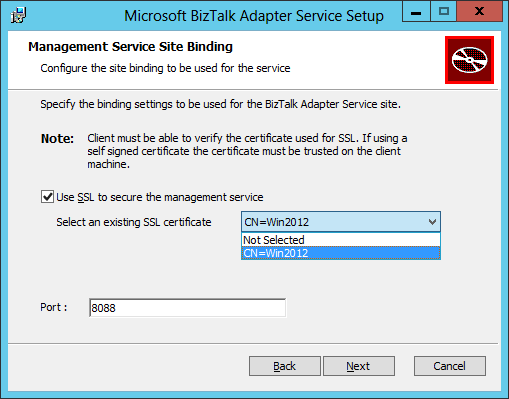 BizTalk Adapter Service Setup Management Service