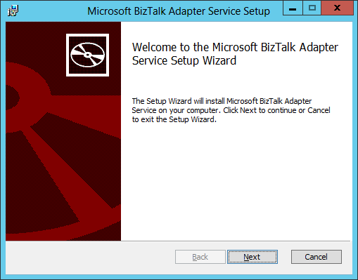 BizTalk Adapter Service Setup Welcome
