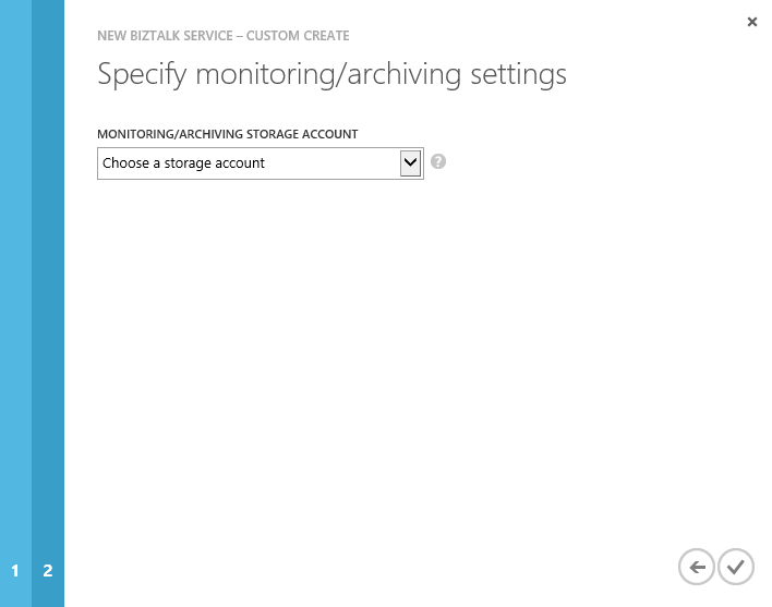 Create BizTalk Service wizard Archiving Storage Settings