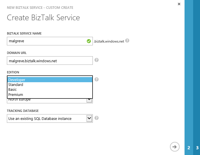 Create BizTalk Service wizard first page