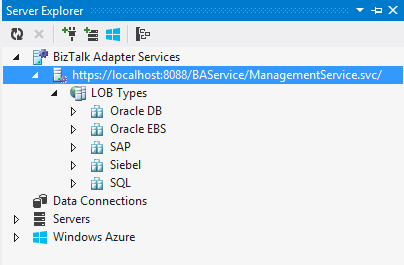 Visual Studio Server Explorer BizTalk Adapter Services LOB Types