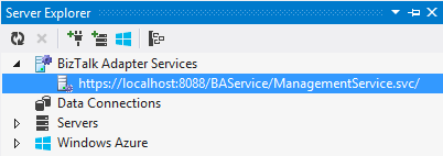 Visual Studio Server Explorer BizTalk Adapter Services
