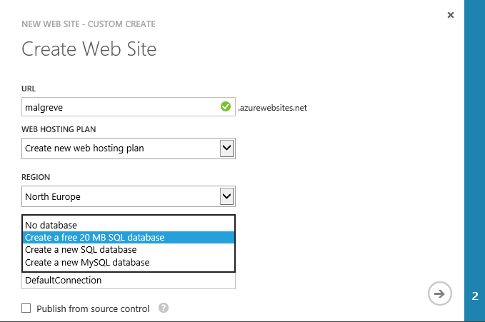 Web Sites section of Azure portal allows for free SQL Database creation