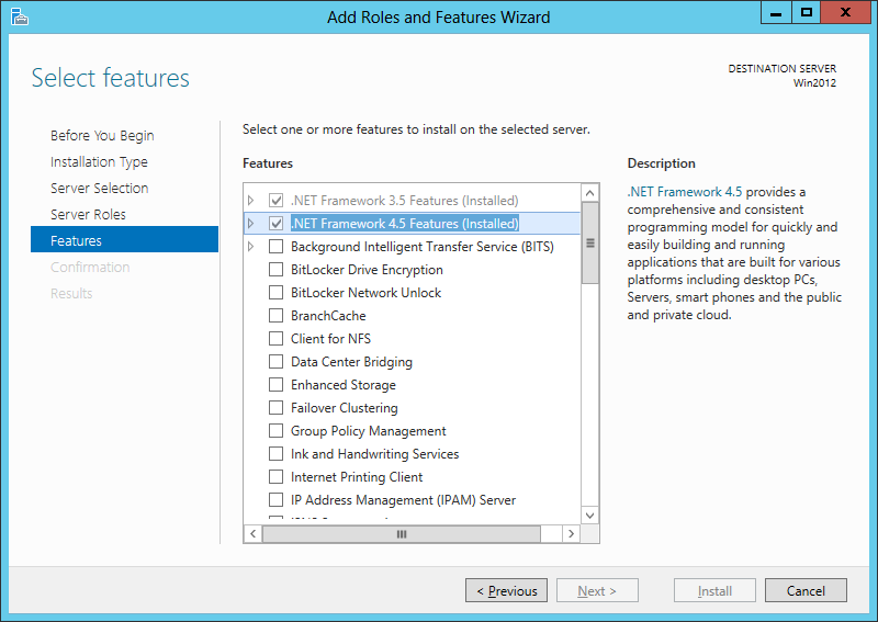 Windows Features Framework 4.5
