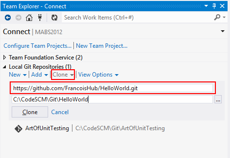 VisualStudio Clone Git Repositories
